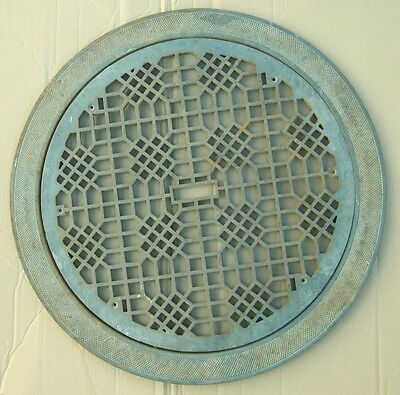 """Large Antique Round Cold Air Return Grate Grill With Surround 31"""" Diam. #1047-12"""