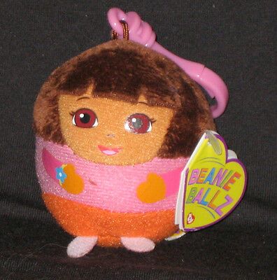 TY DORA the EXPLORER BEANIE BALLZ KEY CLIP - MINT with TAGS - LC