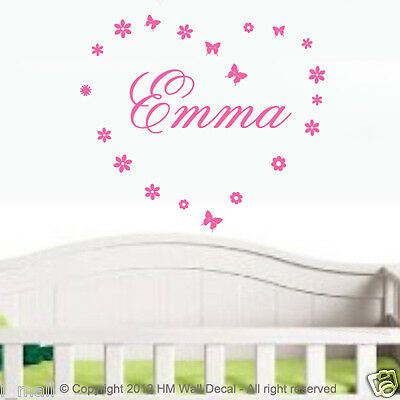Customise  name with butterflies & flowers wall sticker, great gift