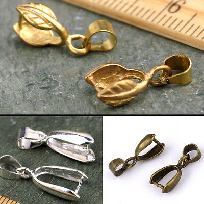 4pcs Brass Large Drop Pinch Bail Pendant Clasp Finding 12mm to 26mm