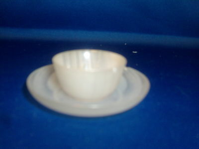 Antique Chinese Carved Stone Small Wine Cup & Saucer Plate Dish White Jade