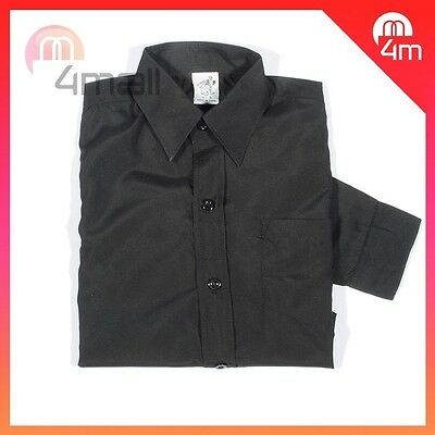 Boys Kids Black Formal Tie School Shirt Wedding Suit Tuexdo Long Sleeve Sz 2-16