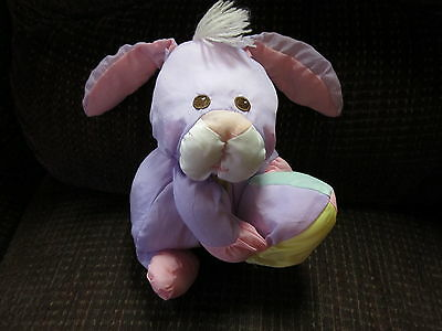 Vintage Toy HTF Fisher Price Puffalump Baby Doll Purple Easter Rabbit Bunny egg