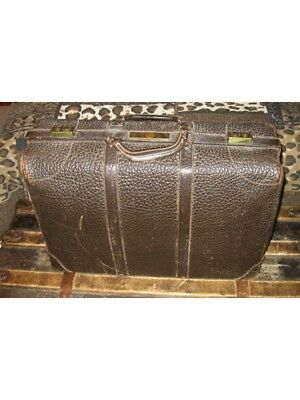 Vintage Gladiator SteamPunk Leather Suitcase with Brass Hardware Antique