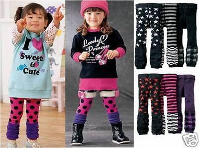 Baby Toddler Pants Star Stripe Plaid Girl/Boy Ruched Leg Warmers 3-Set/Pair USA