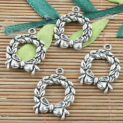 60pcs Alloy metal Tibetan Silver 2sided round leaves design charms  F12739