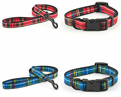 ANCOL TARTAN DOG COLLAR or LEAD in Colourful Red or Blue (Various Sizes)