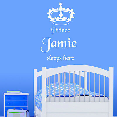 Personalised Boy's Prince Sleeps Here Wall Sticker Decal Quote Vinyl Transfer