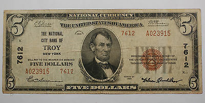 Series 1929 Type 2 $5 National Currency Banknote Troy New York Charter 7612 (A)