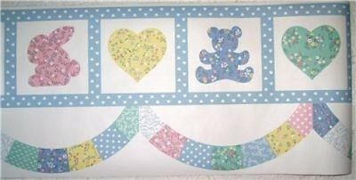 Hearts Bears Bunny Floral & Dots Patchwork Wall Border 10yds NEW Baby Girls