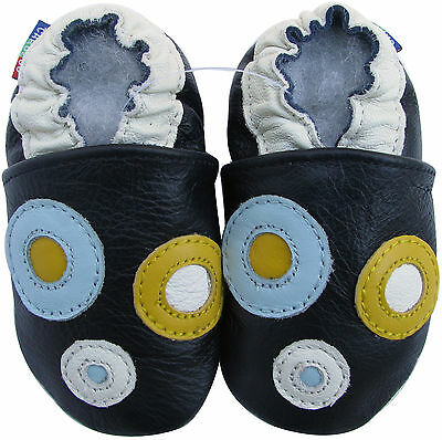 Carozoo circle dark blue 7-8y soft sole leather kids shoes