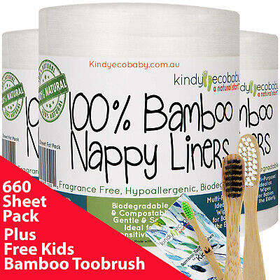 600 Pack Bamboo Flushable Liners Nappy Insert Cloth Biodegradable Natural Liner