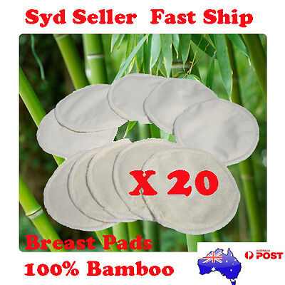 20 x Bamboo Reusable Breast Pads Nursing Waterproof Organic Plain Washable Pad