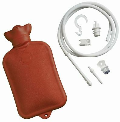 64 oz Hot Water Bottle With Combination Douche And Enema System Syringe