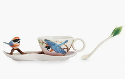 Franz Porcelain Black-throated Passerine Cup, Saucer and Spoon Set