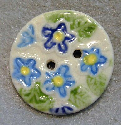 Handcrafted Porcelain Button Blue Tiny Flowers Sew Through FREE US SHIPPING