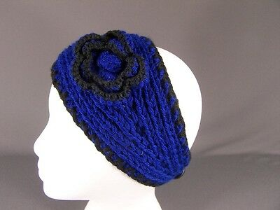 Blue Black soft flower ear warmer muff knit head wrap hat ski headband crochet