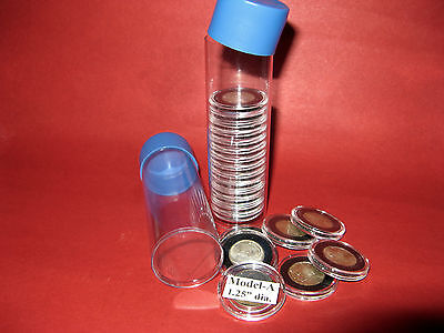 5 Cap-Tube Tite-2 for Model-A Airtite Coin Holders- Silver quarter  craft beads.
