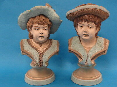 Pair Victorian Signed Wilhelm Schiller & Sons (Ws&S) Bohemia Majolica Bust 1227
