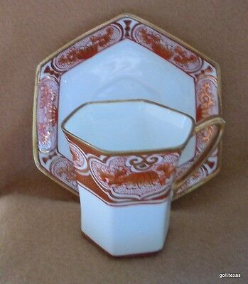 Vintage Noritake Demitasse Cup and Saucer Circa 1921 or Before Red and Gold A