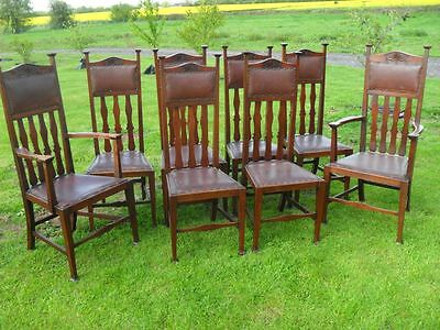 Rare set of eight Mahogany high splat back Arts & Crafts dining chairs