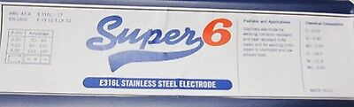 SUPER 6 7451 E316L STAINLESS STEEL WELDING ELECTRODE RODS 3.2MM x 5 RODS