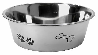 Stainless Steel Dog Pet Feeding Water Bowl Attractive Paw & Bone Design  3 Sizes