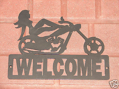 Chopper Bike Welcome Sign Home Decor Wall Harley