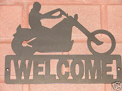 Chopper  Bike Metal WELCOME SIGN Home Decor Wall Harley Biker Motoercycle Plaque