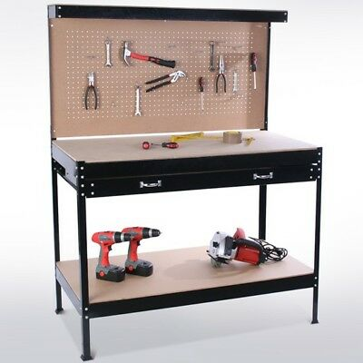 Black Steel Garage ToolBox WorkBench Storage Pegboard Shelf Workshop Station New