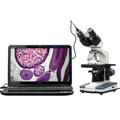 AmScope 40X-2500X LED Digital Compound Microscope with 3D Stage + 1.3MP Camera