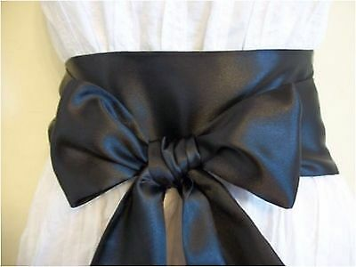 "NEW 3.5""x85"" BLACK SATIN SASH SELF TIE BOW BELT for PARTY EVENING COCKTAIL DRESS"