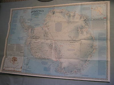 PINNIPEDS + ANTARCTICA SOUTH POLE MAP April 1987 National Geographic