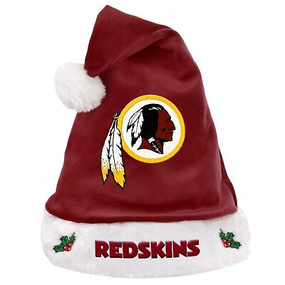 aa84a12eb7a Washington Redskins Team Logo Holiday Plush Santa Hat NEW Christmas Solid  Maroon