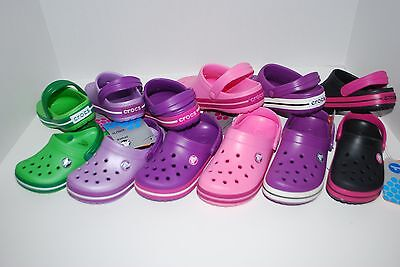 NWT CROCS CROCBAND KIDS PINK GREEN PURPLE BLACK 6/7 10/11 12/13 1 2 3 CLOGS shoe