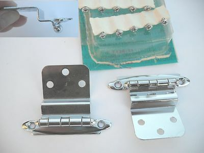"Vintage NOS CHROME HINGES For 3/8"" Inset overlapping Cabinet Doors Art Deco 1 pr"