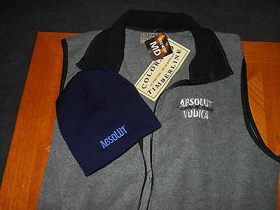 Absolut Vodka  Winter Vest(Medium)And Hat New With Tags