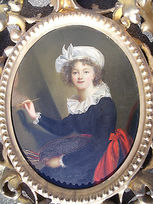 Antique miniature self portrait French female artist Marie L. E.  LeBrun signed