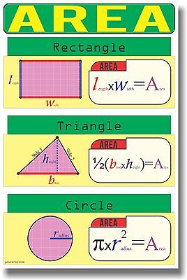 NEW MATH Educational Geometry Classroom POSTER - Area