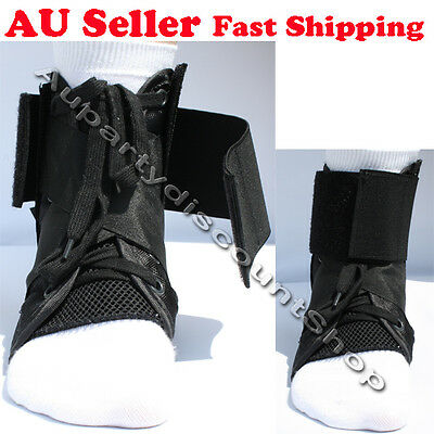 1x pair Lace-up Ankle Brace Support with Stays Guard black sports protector 6004