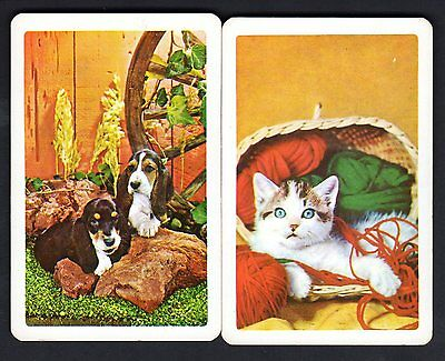 Vintage Swap/Playing Cards - Lovely Cat & Dogs Pair