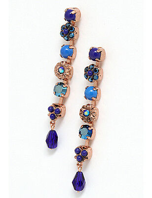 Amaro Blue Eye Collection Gold Plated Earrings w Howlite, Lapis-Lazuli & Crystal