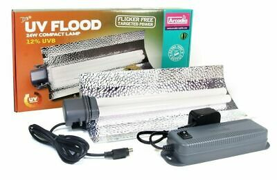 Arcadia D3+ Uv Flood 24W Power Compact Lamp 12% Uvb Reptile Light Tube Lighting