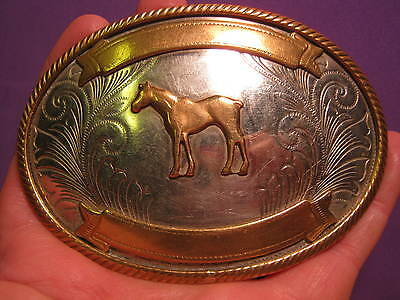 OLD Two Banner Short Tail Horse Western Belt Buckle German Silver MAKE An OFFER