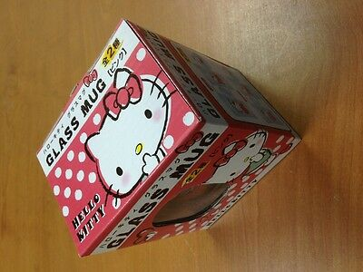 New Pink Hello Kitty Glass Mug Cup Original Japan Sanrio