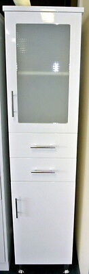 1820mm Frosted Glass Door Bathroom Tallboy with Drawers