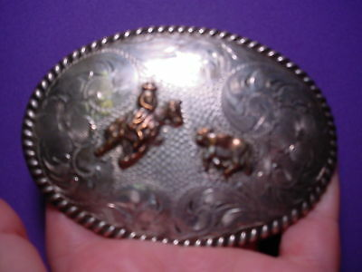 1974 SOLID STERLING SILVER Cutting Horse Belt Buckle by FLEMING MAKE OFFER!