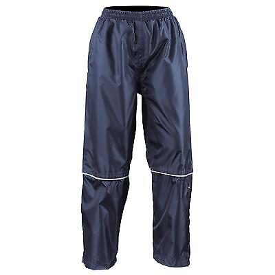New RESULT Childrens Kids Waterproof 2000 Pro Coach Trousers in Black Navy S-XXL