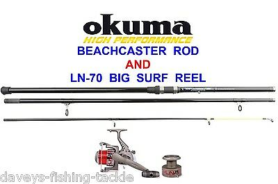 OKUMA 13ft 3pc BEACHCASTER ROD & LN-70 BIG SURF REEL+LINE SEA PIER FISHING