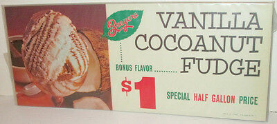 Breyers Ice Cream Vintage Style Supermarket Display Sign Vanilla Cocoanut Fudge